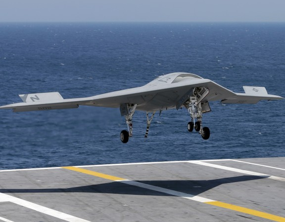Image: A Navy drone lands on an aircraft carrier