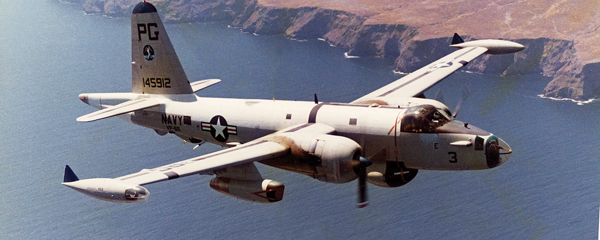 A Lockheed SP-2H Neptune of U.S. Navy Reserve patrol squadron VP-65 sorties from Naval Air Station Point Mugu, Calif., in 1973.  (Lockheed Martin)