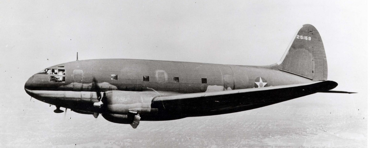 Curtiss C-46 in flight (possibly S/N 41-5159, tail number 25159, but appears to have been added in the dark room). (U.S. Air Force photo)